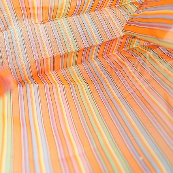 メキシコ メルカド メッシュ バッグ (マチ付き オレンジ ストライプ)【画像3】