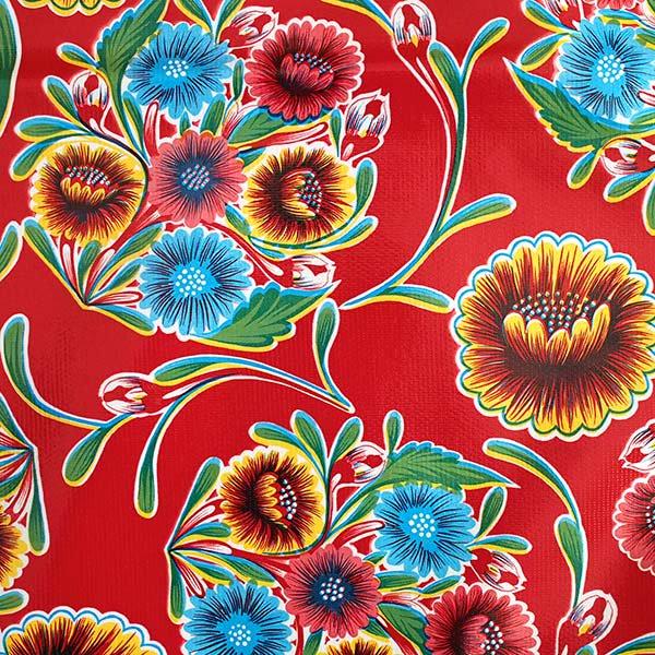 メキシコ オイルクロス 花柄 レッド 120×100【画像2】