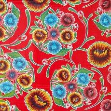 メキシコ オイルクロス 花柄 レッド 120×100