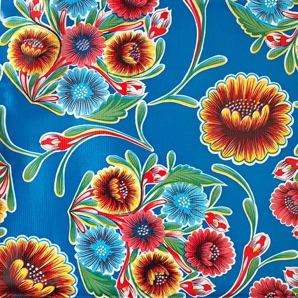メキシコ オイルクロス 花柄 ブルー 120×100【画像2】