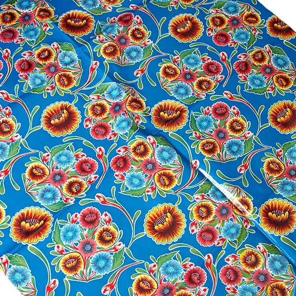 メキシコ オイルクロス 花柄 ブルー 120×100【画像3】