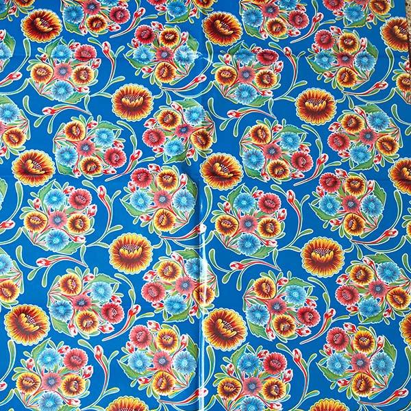 メキシコ オイルクロス 花柄 ブルー 120×100【画像4】