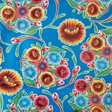 メキシコ オイルクロス 花柄 ブルー 120×100