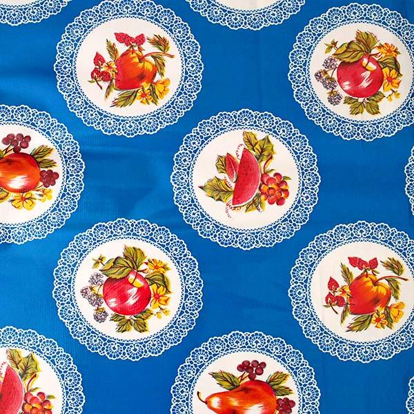 メキシコ オイルクロス くだもの ブルー  120×90