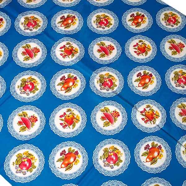 メキシコ オイルクロス くだもの ブルー  120×90 【画像3】