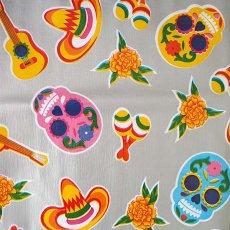 メキシコ オイルクロス 死者の日 ガイコツ  シルバー  120×80