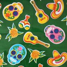 メキシコ オイルクロス 死者の日 ガイコツ  グリーン  120×90