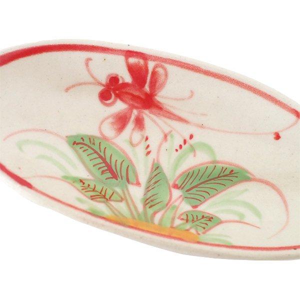 ベトナム バッチャン焼き 小舟型 皿 トンボ 2色(縦約6cm×横約14cm)【画像3】
