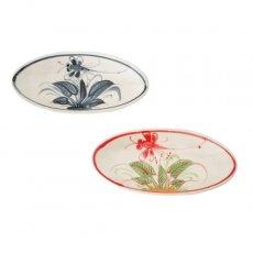 ベトナム バッチャン焼き 小舟型 皿 トンボ 2色(縦約6cm×横約14cm)