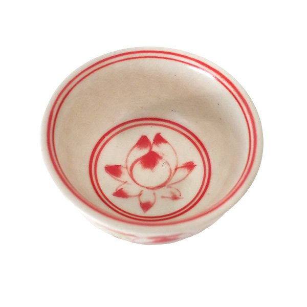 ベトナム バッチャン焼き ミニ小鉢 ロータス 蓮の花(直径約 8.5cm)【画像4】