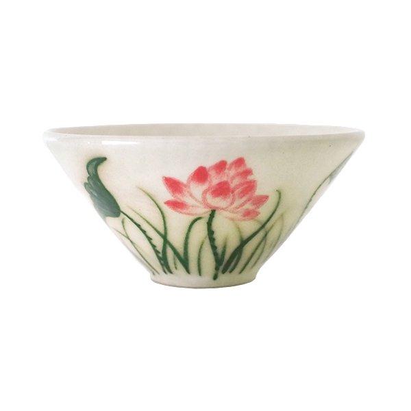 ベトナム バッチャン焼き ミニ小鉢 おちょこ サイズ  蓮 ハス(直径約8cm)