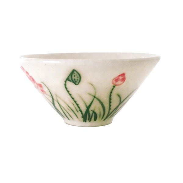 ベトナム バッチャン焼き ミニ小鉢 おちょこ サイズ  蓮 ハス(直径約8cm)【画像2】
