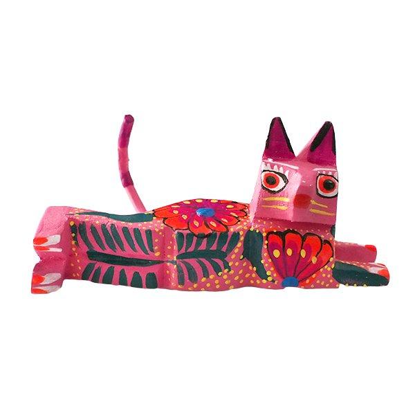 メキシコ ウッドカービング アレブリヘス (ネコ ピンク)