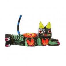 ネコ (猫) 雑貨 メキシコ ウッドカービング アレブリヘス (ネコ ブラック)