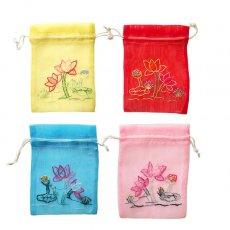 新入荷・再入荷 ベトナム 刺繍 巾着(オーガンジー 蓮 ハス 小サイズ 15×11)