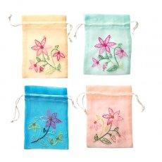 巾着 ベトナム 刺繍 巾着(オーガンジー 花 C  小サイズ 15×11)
