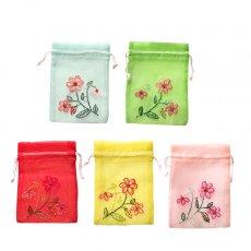 ベトナム 刺繍 巾着(オーガンジー 花 E  小サイズ 15×11)