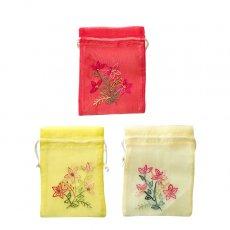 新入荷・再入荷 ベトナム 刺繍 巾着(オーガンジー 花 F  小サイズ 15×11)