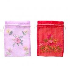 新入荷・再入荷 ベトナム 刺繍 巾着(オーガンジー 花 I 中サイズ 19×14)