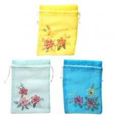 巾着 ベトナム 刺繍 巾着(オーガンジー 花 J 中サイズ 19×14)