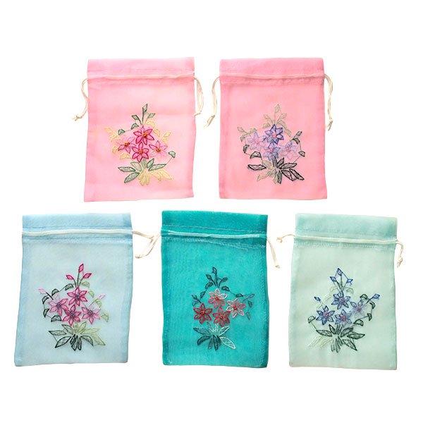 ベトナム 刺繍 巾着(オーガンジー 花 K 中サイズ 19×14)