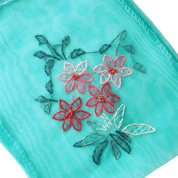 ベトナム 刺繍 巾着(オーガンジー 花 K 中サイズ 19×14)【画像2】