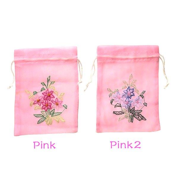 ベトナム  刺繍 巾着(お花)