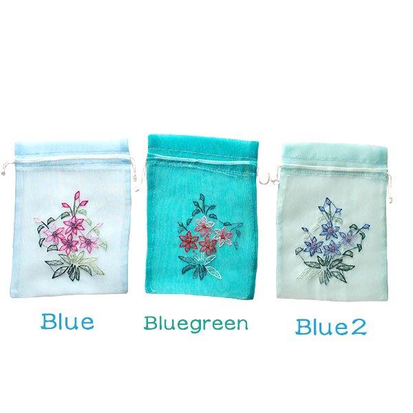 ベトナム 刺繍 巾着(オーガンジー 花 K 中サイズ 19×14)【画像4】