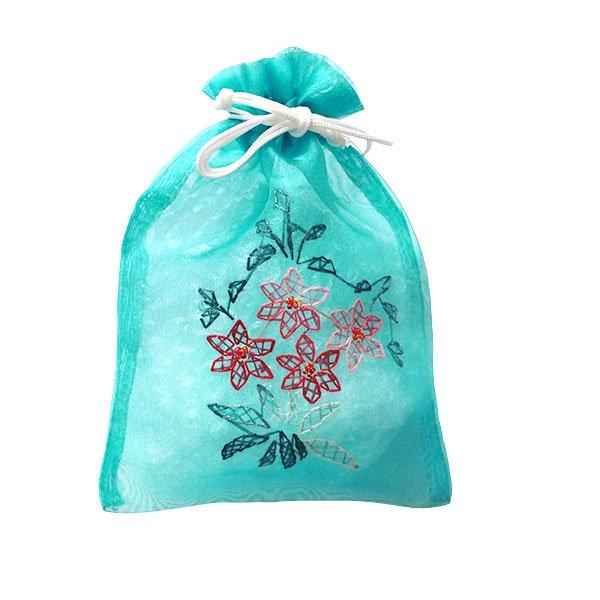 ベトナム 刺繍 巾着(オーガンジー 花 K 中サイズ 19×14)【画像5】