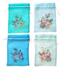 新入荷・再入荷 ベトナム 刺繍 巾着(オーガンジー 花 L 中サイズ 19×14)