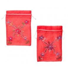 新入荷・再入荷 ベトナム 刺繍 巾着(オーガンジー 花 M 中サイズ 19×14)