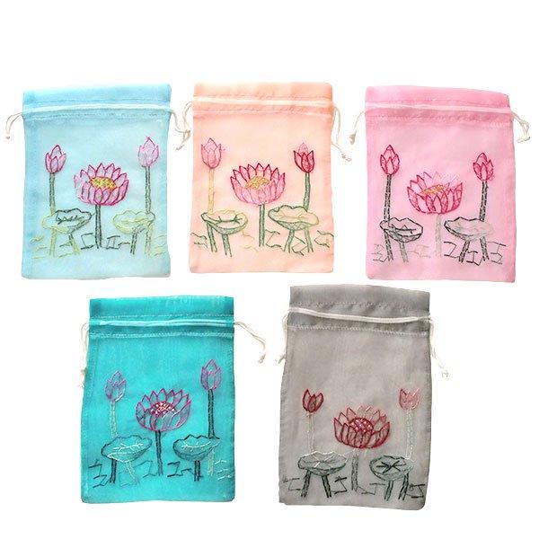 ベトナム 刺繍 巾着(オーガンジー 蓮 ハス 中サイズ 19×14)