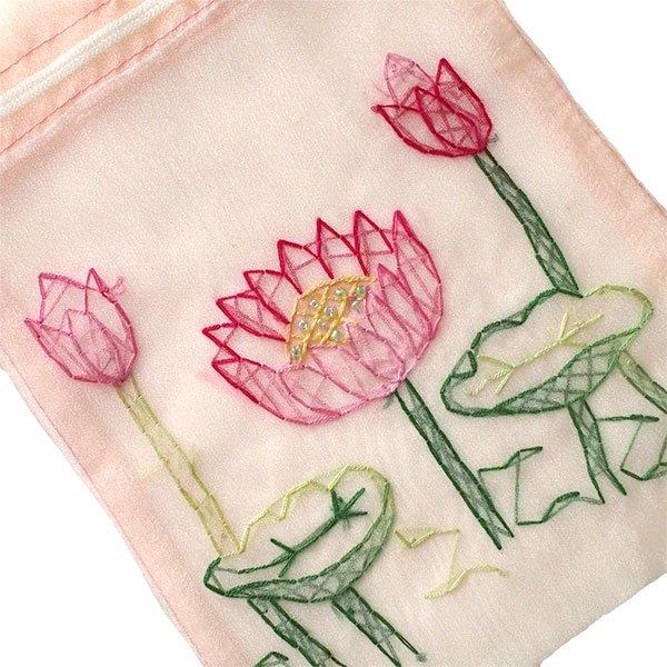 ベトナム 刺繍 巾着(オーガンジー 蓮 ハス 中サイズ 19×14)【画像4】