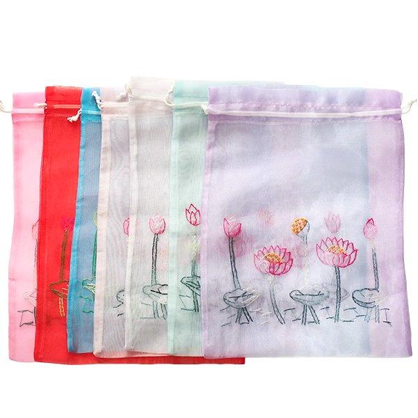 ベトナム 刺繍 巾着(オーガンジー 蓮 ハス 大サイズ  37×26.5)