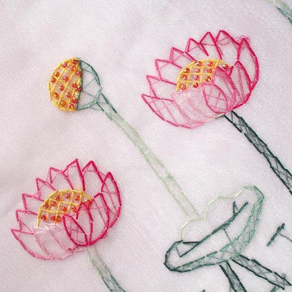 ベトナム 刺繍 巾着(オーガンジー 蓮 ハス 大サイズ  37×26.5)【画像2】