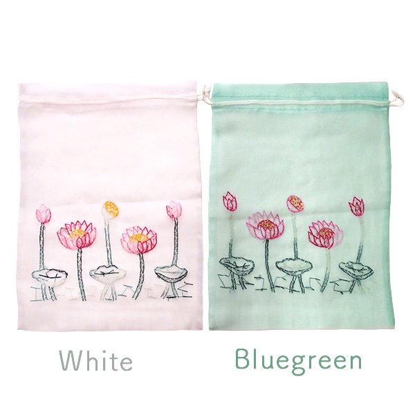 ベトナム 刺繍 巾着(オーガンジー 蓮 ハス 大サイズ  37×26.5)【画像5】