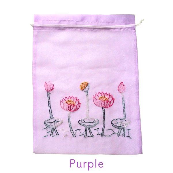 ベトナム 刺繍 巾着(オーガンジー 蓮 ハス 大サイズ  37×26.5)【画像6】