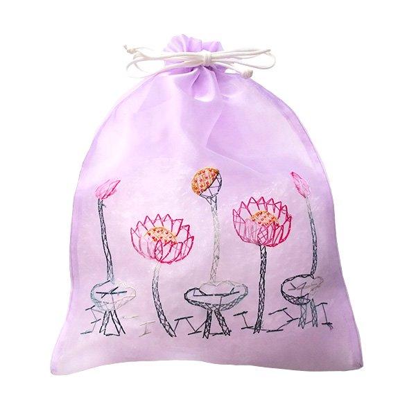ベトナム 刺繍 巾着(オーガンジー 蓮 ハス 大サイズ  37×26.5)【画像7】