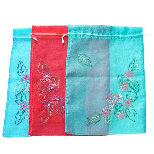ベトナム 刺繍 巾着(オーガンジー 花 A 大サイズ 37×26.5)