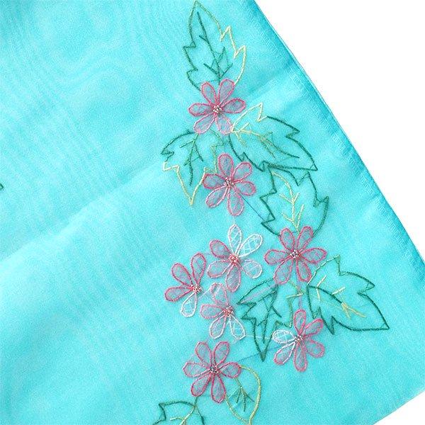 ベトナム 刺繍 巾着(オーガンジー 花 A 大サイズ 37×26.5)【画像2】