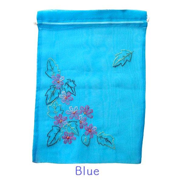 ベトナム 刺繍 巾着(オーガンジー 花 A 大サイズ 37×26.5)【画像3】