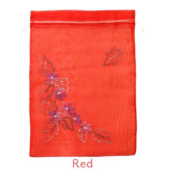 ベトナム 刺繍 巾着(オーガンジー 花 A 大サイズ 37×26.5)【画像4】