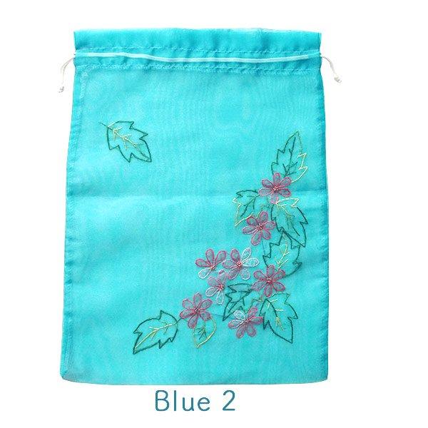 ベトナム 刺繍 巾着(オーガンジー 花 A 大サイズ 37×26.5)【画像5】