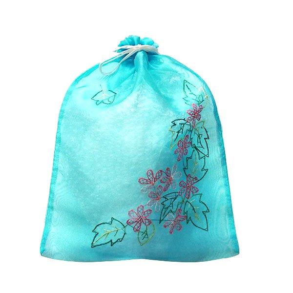 ベトナム 刺繍 巾着(オーガンジー 花 A 大サイズ 37×26.5)【画像6】