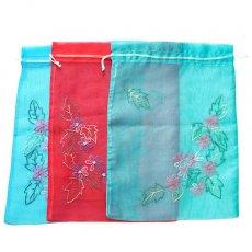 新入荷・再入荷 ベトナム 刺繍 巾着(オーガンジー 花 A 大サイズ 37×26.5)