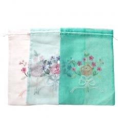 巾着 ベトナム 刺繍 巾着(オーガンジー 花 B 大サイズ 37×26.5)