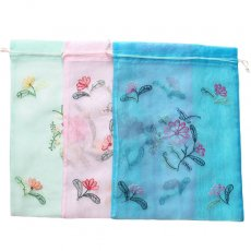 新入荷・再入荷 ベトナム 刺繍 巾着(オーガンジー 花 D 大サイズ 37×26.5)