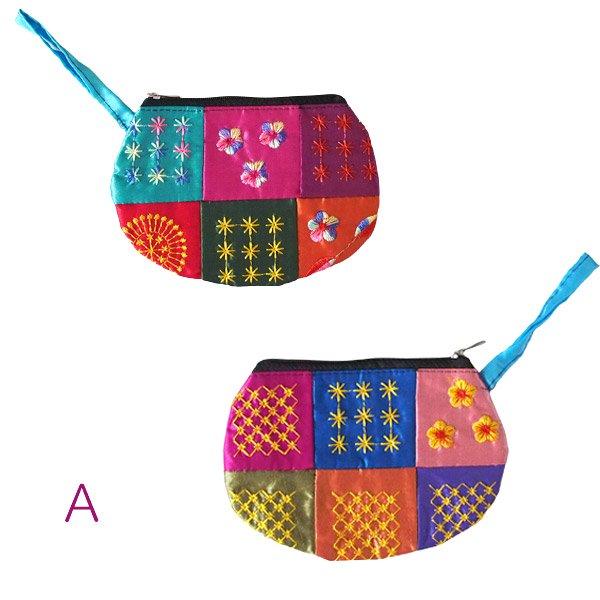 ベトナム パッチワーク刺繍 ポーチ(マチなし)【画像3】