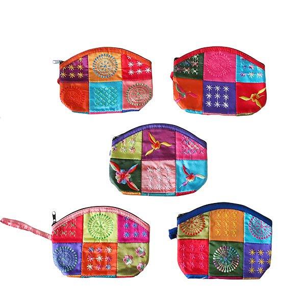 ベトナム パッチワーク刺繍 ポーチ(マチあり)