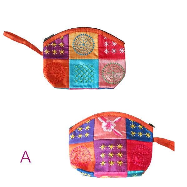 ベトナム パッチワーク刺繍 ポーチ(マチあり)【画像2】